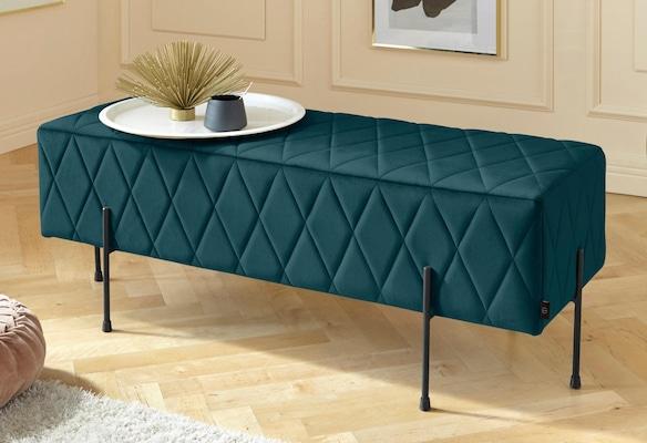 edle, dunkelgrüne Sitzbank mit Samtbezug