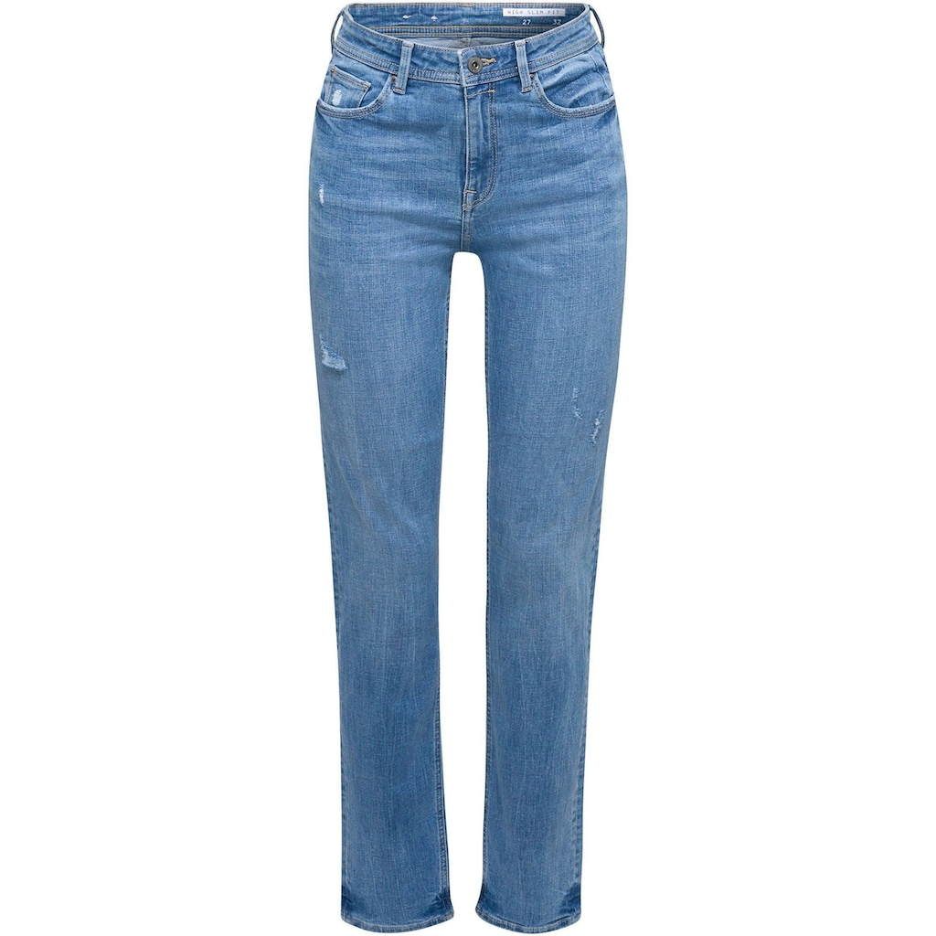 edc by Esprit Stretch-Jeans, mit coolen Used-Effekten und im High-Waist Stil
