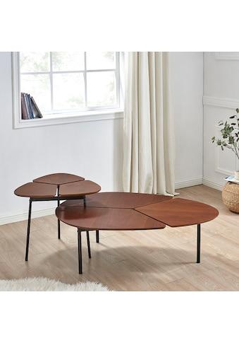 andas Couchtisch »Lyra«, 2er Set, Tischplatte aus schönem Furnierholz, Gestell aus Metall, zwei ineinander integrierbare Couchtische kaufen