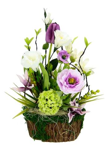 I.GE.A. Kunstblume »Arrangement Ranunkel/Lysianthus«, Pflanzschale aus Rinde mit Moos kaufen