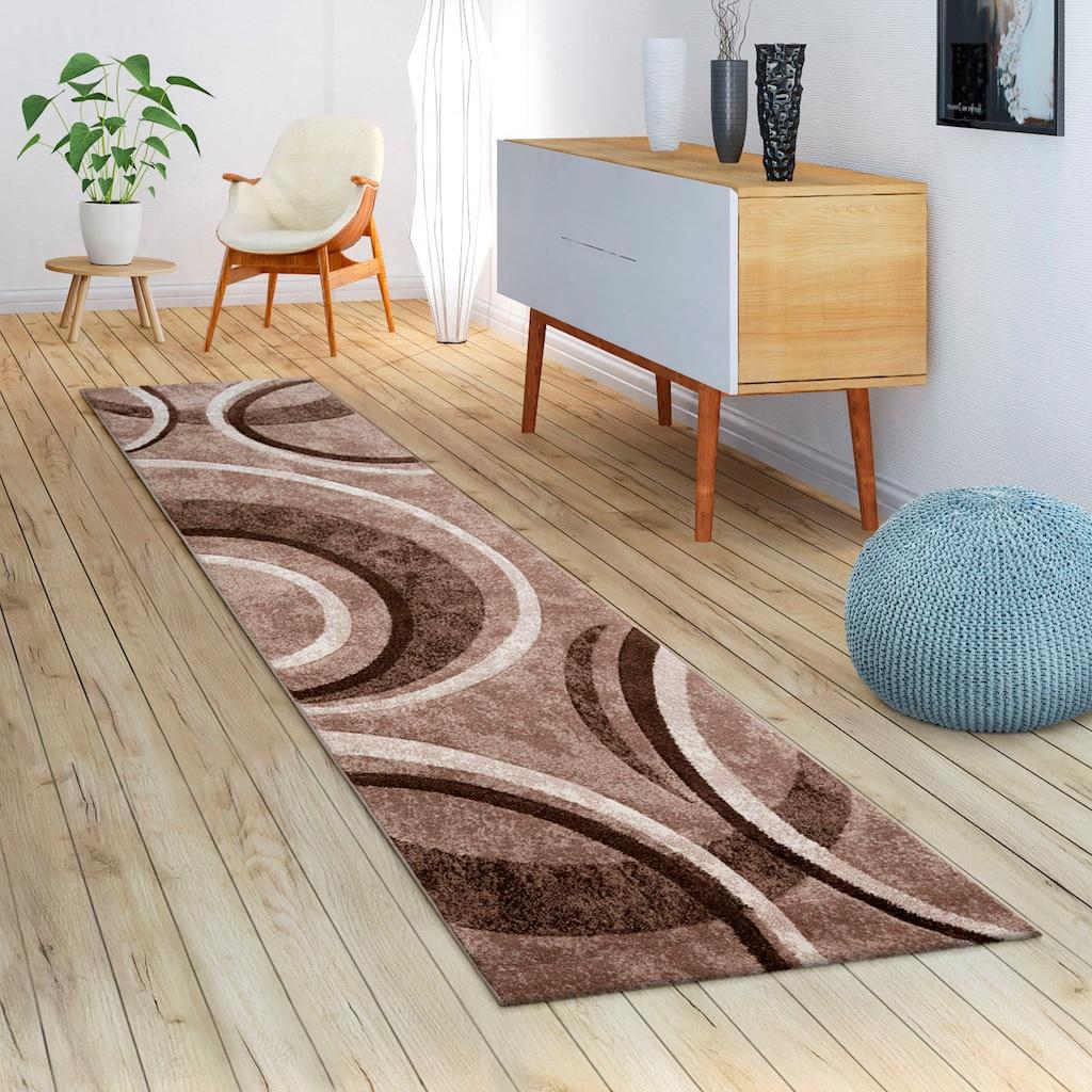 Paco Home Läufer »Brillance 758«, rechteckig, 18 mm Höhe, Teppich-Läufer, Kurzflor, gewebt, mit geometrischem Design