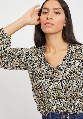 Vila Druckbluse, mit Blümchen-Muster auf schwarzem Grund kaufen
