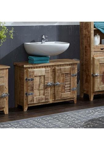 SIT Waschbeckenunterschrank »Frigo«, Mangoholz im Antik-Look mit Kühlschrankgriffen,... kaufen