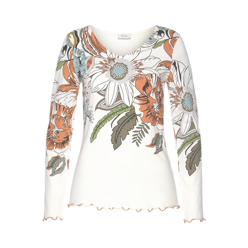 Boysen's Langarmshirt, Mit grossem Blumendruck