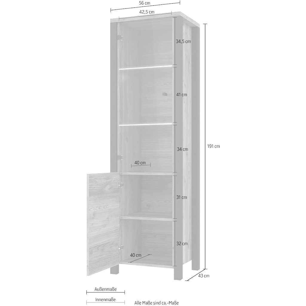 TRENDMANUFAKTUR Vitrine »Olin«, Höhe 191 cm