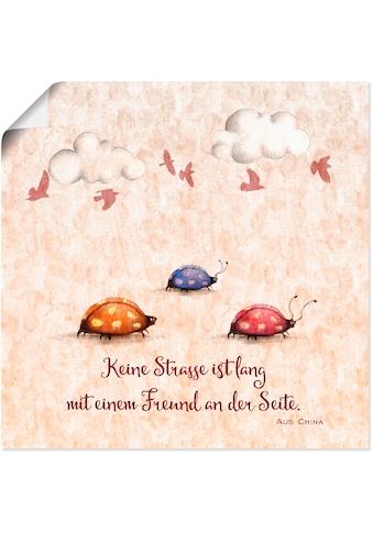 Artland Wandbild »Lebensweisheit Freunde«, Tiere, (1 St.), in vielen Grössen &... kaufen