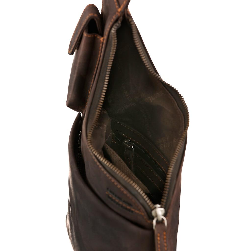 GreenLand Nature Umhängetasche, aus Leder mit Handyfach und Schlüsselanhänger