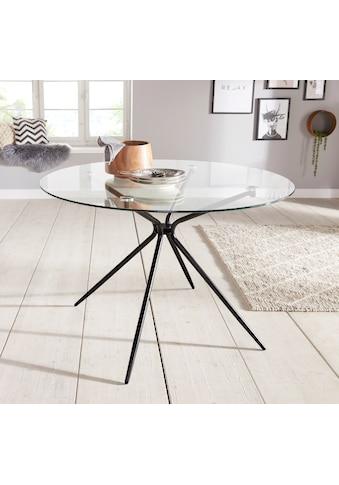 INOSIGN Glastisch »Silvi«, rund, Ø 110 cm, schwarzes Metallgestell kaufen
