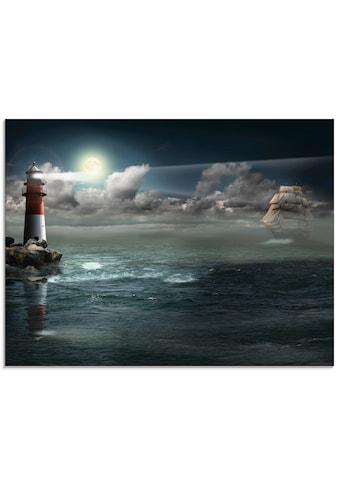 Artland Glasbild »Leuchtturm unter Beleuchtung«, Gebäude, (1 St.) kaufen