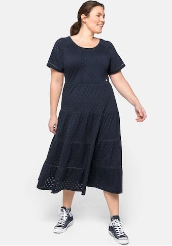 Sheego Jerseykleid, mit Stufenrock, in Midilänge kaufen