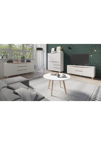 Homexperts Couchtisch »Madlina«, runde Tischplatte in weiss-matt, Masse (B/T/H) ca. 80/80/45 cm kaufen