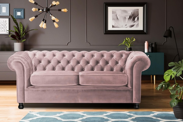 Chesterfield-Sofa in Rosa