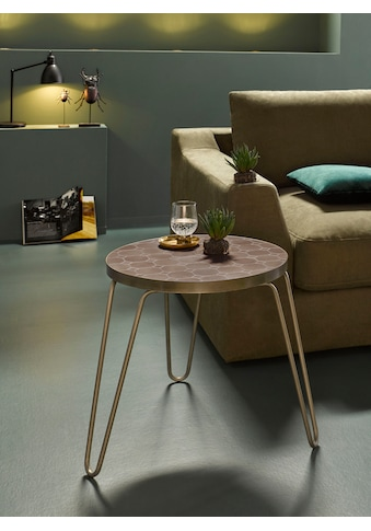 INOSIGN Beistelltisch »Steph«, aus einem schönen gebürsteten Metallbeingestell und einer Mosaik Tischplatte im Metall-Look kaufen