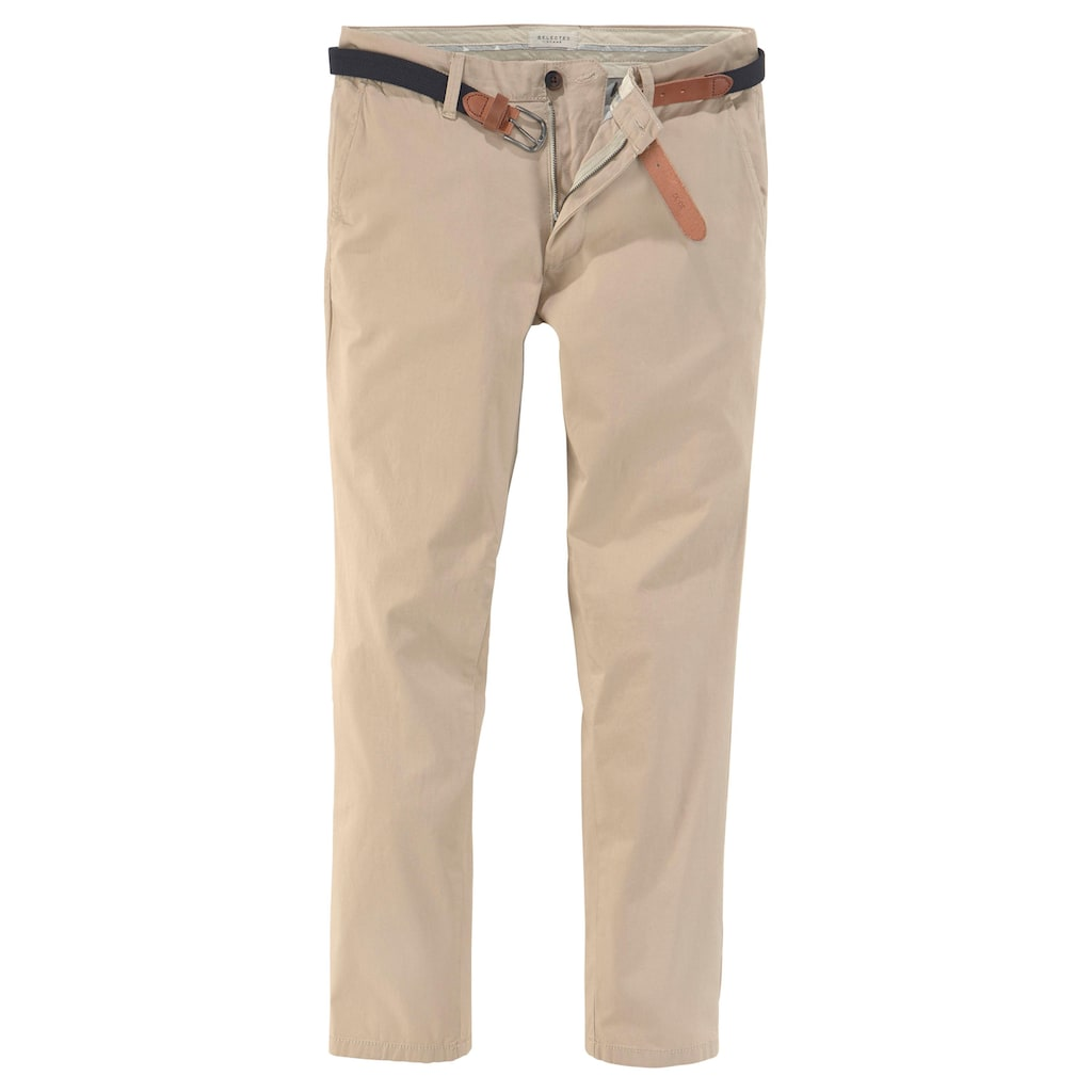 SELECTED HOMME Chinohose »SLIM-YARD WHITE PEPPER PANTS«, (Set, 2 tlg., mit Gürtel)