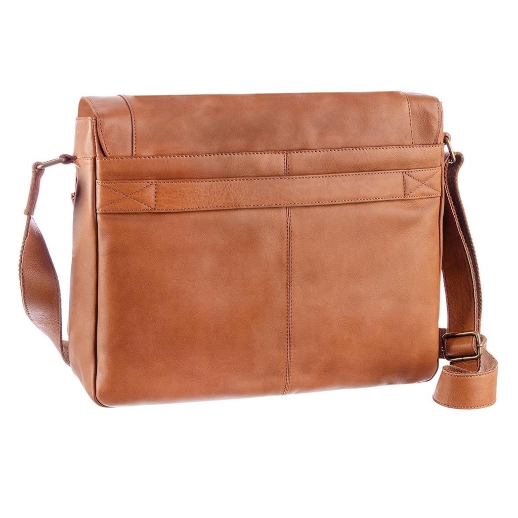 GreenLand Nature Messenger Bag, aus Leder mit Laptopfach