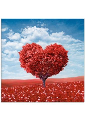 Artland Glasbild »Baum in Form eines Herzens«, Herzen, (1 St.) kaufen