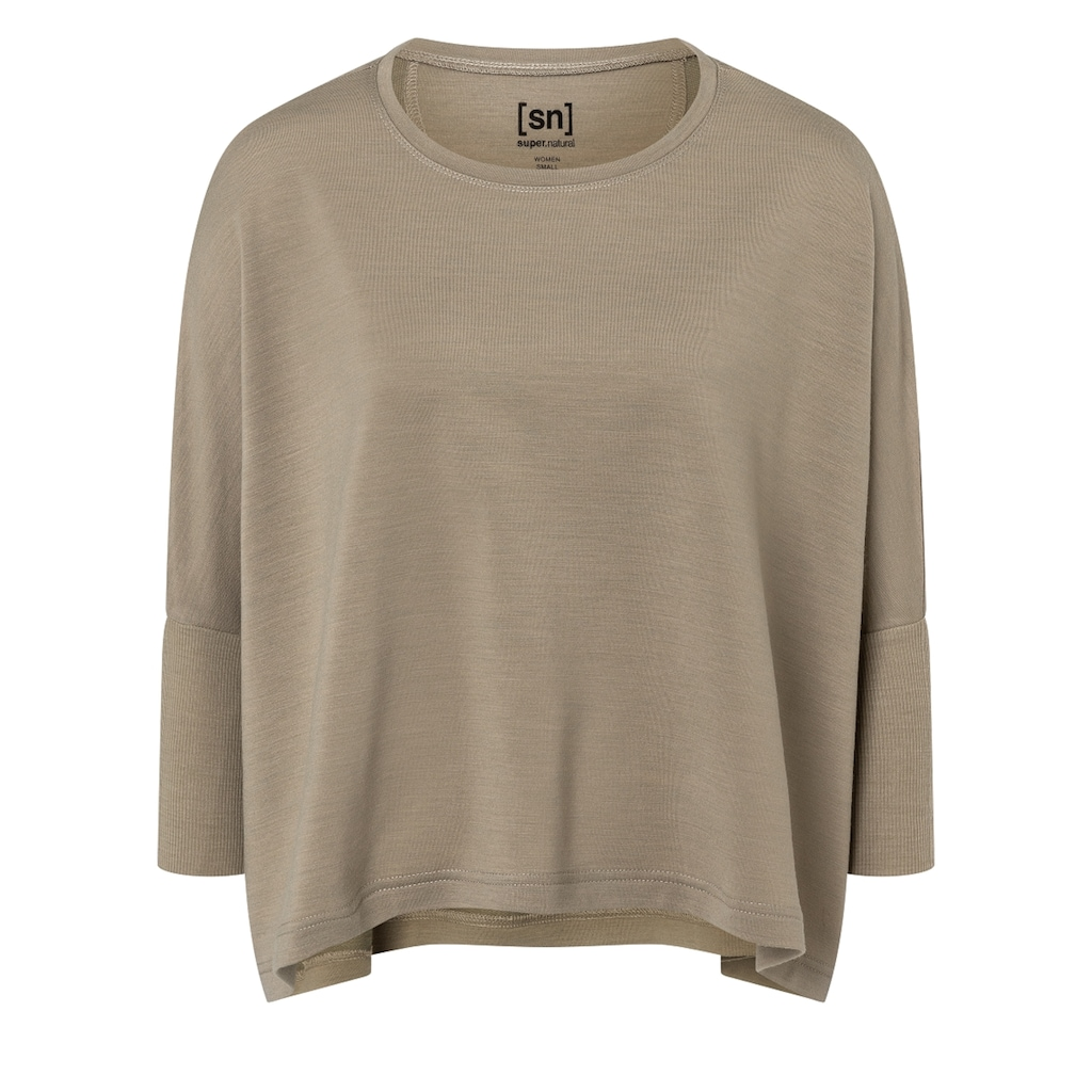 SUPER.NATURAL T-Shirt »W HALF TOP«, verkürzte Passform, funktioneller Merino-Materialmix